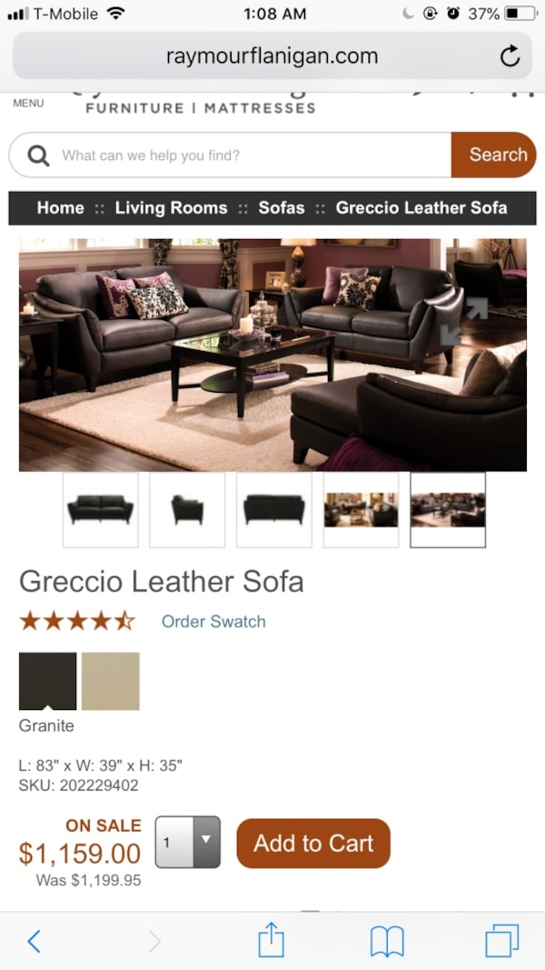 Raymour And Flanigan Grey Blue Greccio Leather Loveseat Couch