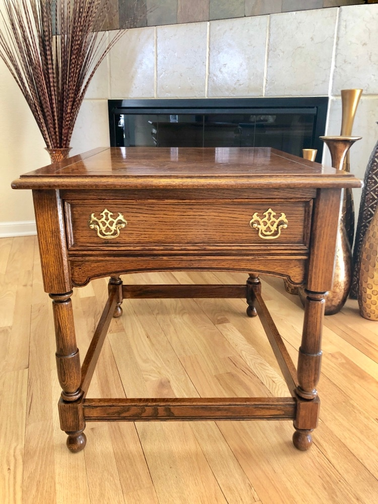 Used Transitional Chairside Or Bedside Burl Oak Table By Lane Furniture For  Sale In Olathe   Letgo