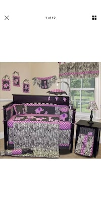 Purple and white floral bed sheet  12 pieces set. Like new with box. Crofton, 21114