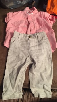 Gray pants and pink button-up shirt 3-6M Napoleonville, 70390