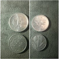 two round silver coins collage