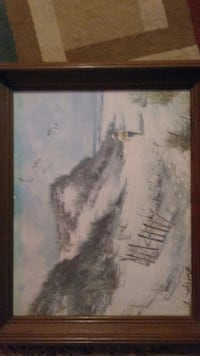 lake covered in snow with birds flying painting Casey, 62420