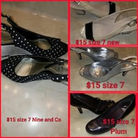 four pair of gray, beige, and black heeled sandals collage Corpus Christi, 78413