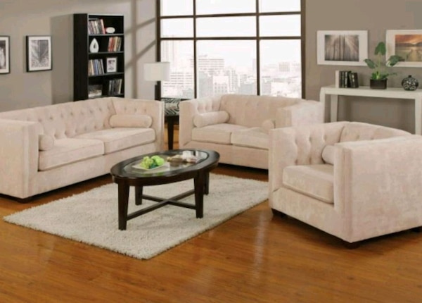 Sofa set 3pcs fabric chenille \