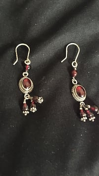 red gemstone and silver hook earrings Virginia Beach, 23451