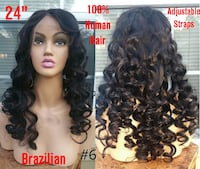 """New 24"""" 100% Brazilian Glueless Lace Front Human Hair Curly Wig (s6) Lanham"""