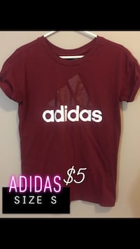 red and white Adidas crew neck shirt Red Deer, T4R 1Y6
