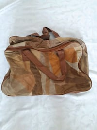 brown FAUX suede holdal bag