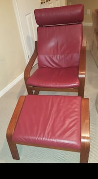 Red Leather Chair with Foot