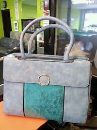 gray and green leather tote bag Bridgeport, 06610