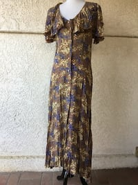 1980s Alexander Brown for Henri Bendel Tan dress with lovely floral pattern (1980s does 1930s) Castaic, 91384