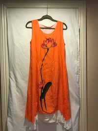 orange and white floral scoop-neck sleeveless hem dress Henderson, 89015