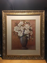 white petaled flower painting with brown wooden frame Denver, 80207