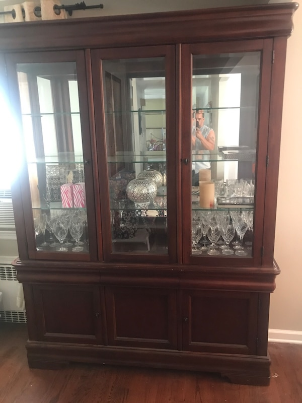 Brown Wooden Framed Gl Display Cabinet
