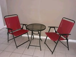 3-Piece Patio Red Furniture Outdoor