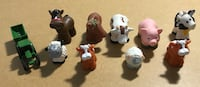 Adorable hand held rubber farm animals & small tractor