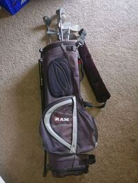 Golf bag and clubs.  Metal shafts and heads.  Las Vegas, 89108