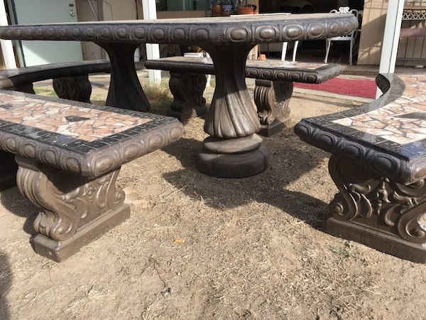 Fabulous Outdoor Spanish Style Mosaic Tile And Concrete Table With 4 Benches Uwap Interior Chair Design Uwaporg