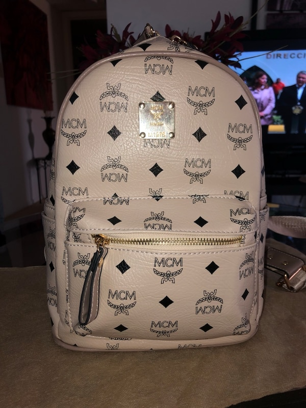 6ad14244adf7 white and black MCM leather backpack. HomeFashion and Accessories West Palm  Beach