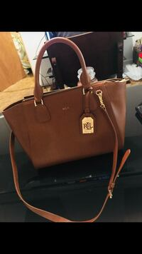 Brown ralph lauren leather 2-way handbag