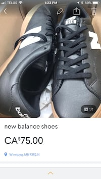 black leather low-top sneakers screenshot Winnipeg, R3M 0B4