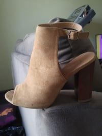 pair of brown suede chunky heeled booties Edmonton, T5P 4N6
