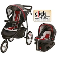 baby's gray and red travel system