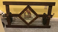 rectangular brown wooden frame diamond wall mirror Poolesville, 20837