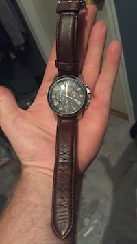 round silver case chronograph watch with brown leather strap Mount Airy, 21771