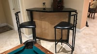 black and brown wooden bar stools
