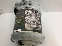 "American Heritage Collection Royal Plush Raschel Throw With Artist Rachel Stribbling's ""White Face Tiger"" Animal Print Large 50"" x 60"" Soft Blanket. 506 mi"