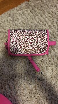 red and white leopard print wristlet