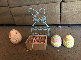 Rabbit candle, wire easter bunny six candles two Easter egg candles
