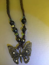 Hand woven hemp butterfly necklace w/ glass beads Springfield, 97477