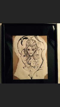 female portrait sketch with wooden framed