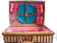 Pic Nic Utensils kit in a wicker case. Vintage 1970's Des Moines, 50313