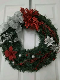 red, silver and green wreath with flower accent 31 mi