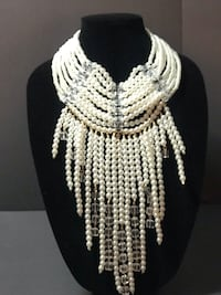 Pearl Cascading Draped Necklace! Huge Statement Piece! Guyton, 31312