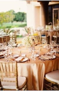 Gold table cloths for Rental... also available in blush and blue Brampton, L7A 2A9