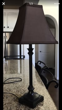 black metal table lamp with brown lamp shade screenshot
