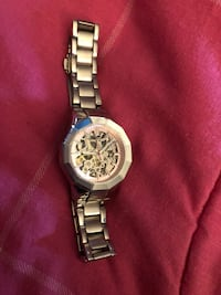 round silver chronograph watch with link bracelet Clinton, 20735