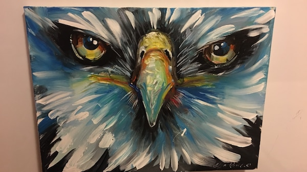 white and yellow eagle painting