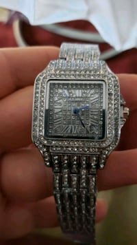 CARTIER WATCH FULL SILVER CRYSTAL NEW