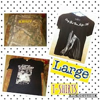 two Large black assorted T-shirts collage