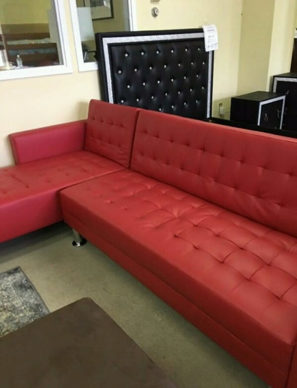 Used Red Leather Sectional Sofa Bed For