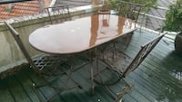 Metal table (130cm) and 6 chairs set. Paris, 75019