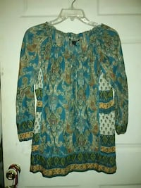women's green and brown paisley chiffon long-sleeved blouse Warm Springs, 31830