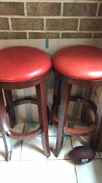 two red leather padded bar stools Laurel, 20723