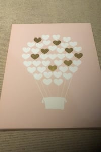 Air balloon canvas with hearts