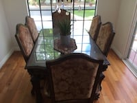 Brown wooden framed glass top table Agoura Hills, 91301